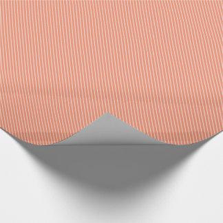 Papier Cadeau Filets diagonaux - orange et blanc de corail