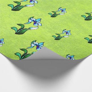 Papier Cadeau Fleurs au néon de vert bleu sur le vert abstrait