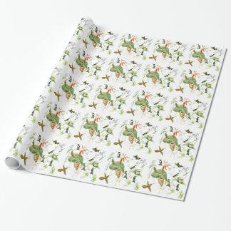 Papier Cadeau Fleurs d'animaux de faune d'oiseaux de colibri