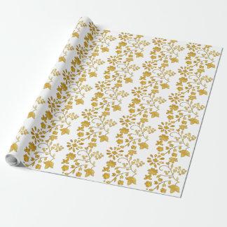 Papier Cadeau Fleurs d'or et papier d'emballage de vignes