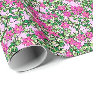 Papier Cadeau Fleurs fuchsia sur un pâle - arrière - plan rose