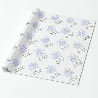 Papier Cadeau Flocons de neige bleus d'hiver les vacances