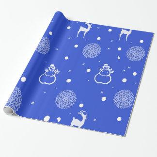 Papier Cadeau Flocons de neige, bonhomme de neige et renne
