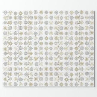 Papier Cadeau Flocons de neige d'argent/or - papier d'emballage