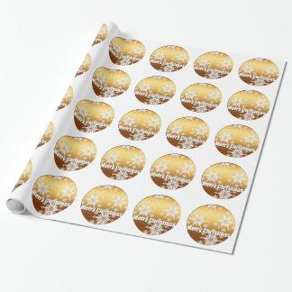 Papier Cadeau Flocons de neige de Joyeux Noël d'or -