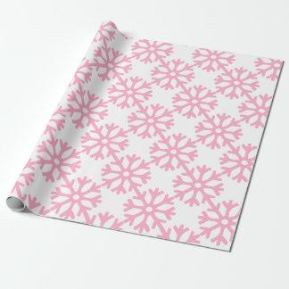 Papier Cadeau Flocons de neige roses