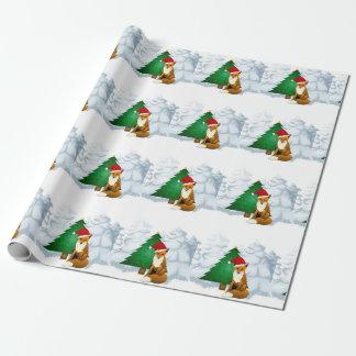 Papier Cadeau Fox avec le papier d'emballage d'arbre de Noël