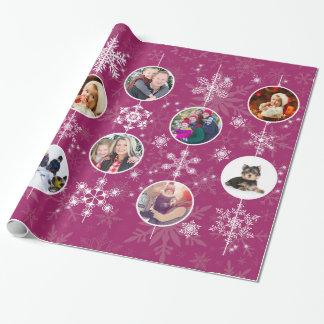Papier Cadeau Fuchsia préféré de photo de famille de flocons de