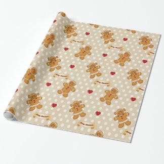 Papier Cadeau Garçon de pain d'épice et fille - beige