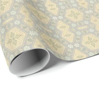 Papier Cadeau Géométrique vintage jaune et gris mignon