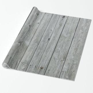 Papier Cadeau Grain en bois gris rustique