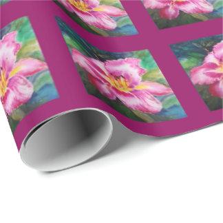 Papier Cadeau Grande fleur rose brillante