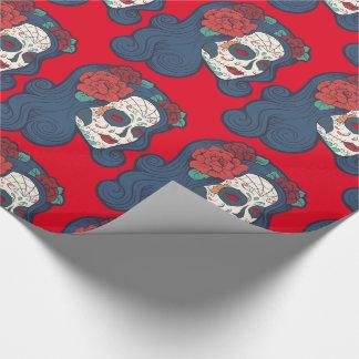 Papier Cadeau Grands roses rouges de crâne femelle de sucre