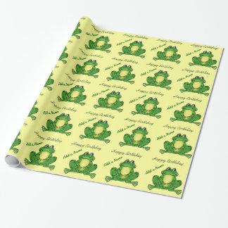 Papier Cadeau Grenouille de houblon d'anniversaire - papier