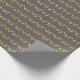 Papier Cadeau Gris, événement d'or soixantième de Faux