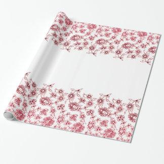 Papier Cadeau Groupes de fleurs roses