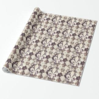 Papier Cadeau Grunge fleur de lis vintage sur le diamant