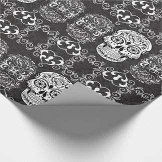 Papier Cadeau Grunge gothique blanche de sucre de noir décoratif