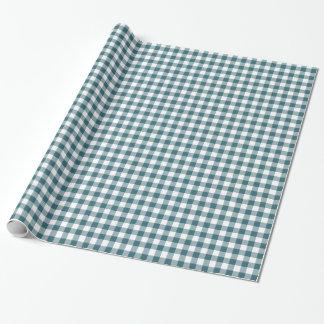Papier Cadeau Guingan de bleu de paon (Teal foncé ou Aqua) et