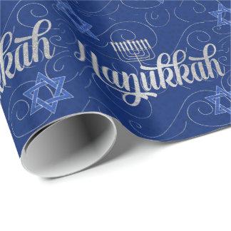 Papier Cadeau Hanoukka bleu et argenté avec l'étoile de David de