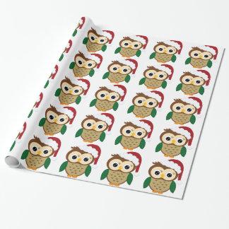 Papier Cadeau Hibou de Père Noël de Noël