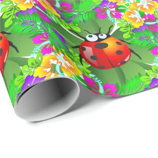 Papier Cadeau Insecte hawaïen de dame se tenant sur un trèfle de