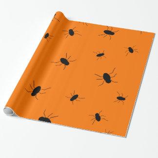 Papier Cadeau Insectes éffrayants de Halloween oranges