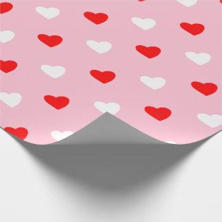 Papier Cadeau J'aime les coeurs rouges et le mélange blanc et