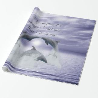 Papier Cadeau Je t'aime dauphins