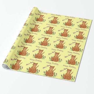 Papier Cadeau Joyeux anniversaire - papier d'emballage de chat