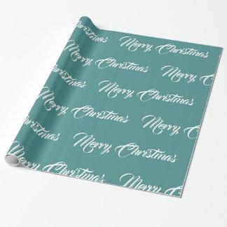 Papier Cadeau Joyeux Noël blanc et turquoise -