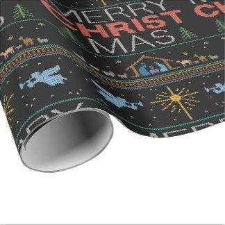 Papier Cadeau Joyeux Noël chrétien tricoté de MAS du Christ