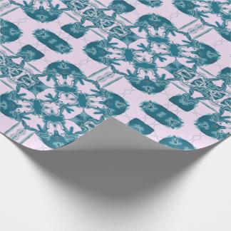 Papier Cadeau Kaléidoscope carré de dentelle turquoise