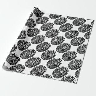Papier Cadeau Kangourou celtique de noeud noir et blanc