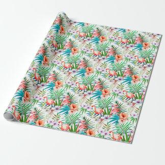 Papier Cadeau Ketmie tropicale de flamant