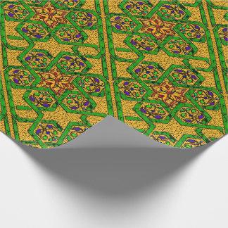 Papier Cadeau Knotwork d'étoile de David dans l'or et le vert
