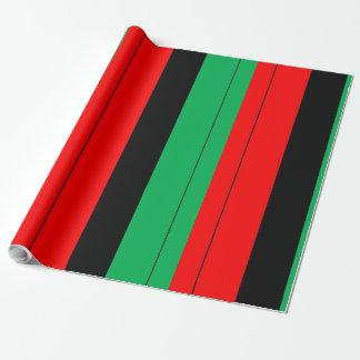 Papier Cadeau Kwanzaa colore le motif vert noir rouge de rayures