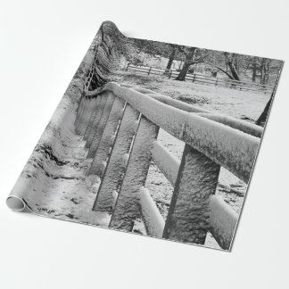Papier Cadeau La neige a couvert Photograpy noir et blanc de