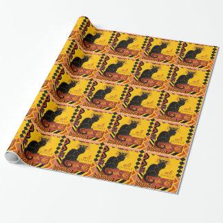 Papier Cadeau Le Chat D'Amour avec la frontière colorée ethnique