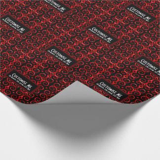 Papier Cadeau Le noir distinctif tourbillonne (le rouge)