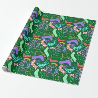 Papier Cadeau Les bas de Noël ont modelé le vert