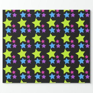 Papier Cadeau Les étoiles de néon ont modelé l'anniversaire