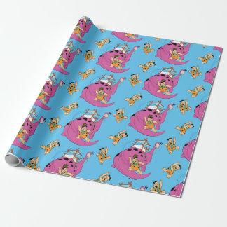 Papier Cadeau Les Flintstones | Fred glissant en bas de la queue