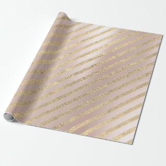 Papier Cadeau Les lignes plus rusées roses perle de rayures de