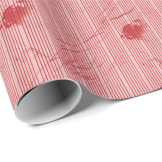 Papier Cadeau Les rayures rouges sur la texture grunge ont