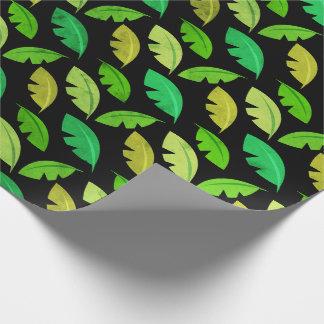 Papier Cadeau L'été tropical pousse des feuilles émeraude de