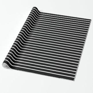 Papier Cadeau Lignes blanches noir