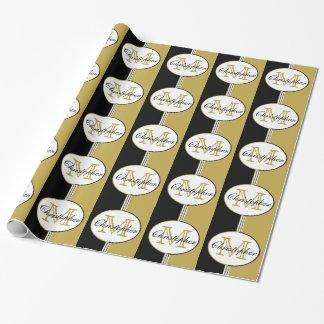 Papier Cadeau L'or noir et antique barre le monogramme