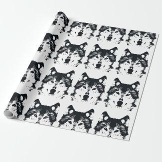 Papier Cadeau Loup noir d'illustration