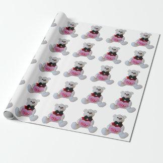 Papier Cadeau L'ours de smoking veut un baiser